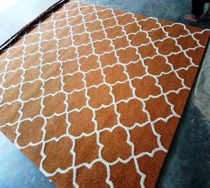 100% Woolen Handtufted Loop Cut Carpet Stock