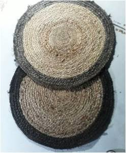 Round jute braided rug Stock