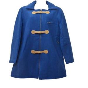 Ladies Raymond royal blue wool overcoat with suede leather closing