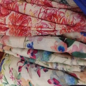 Cotton and chanderi silk fabric