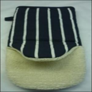 BUTCHER STRIPE SINGLE OVEN GLOVE  WITH TERRY STOCK