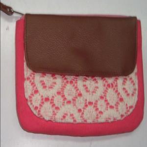 Cotton Bag - Macrame Pouchtte stock