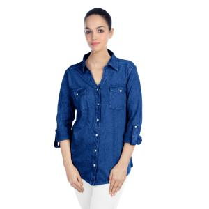 LADIES SHIRT - CRACKLE WASH DENIM LOOK