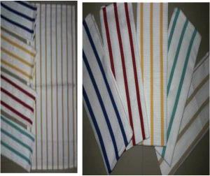 Single clr stripe Kitchen Towel Stock