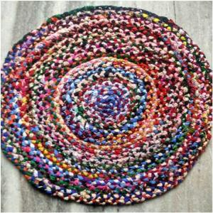 Multi chindi Braided Round Rug Stock