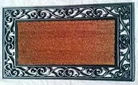 Fancy Color Coir Brush Rubber Grill Mat Stock