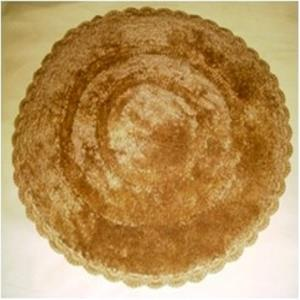 Designer Round bathmat with Lace embroidery border