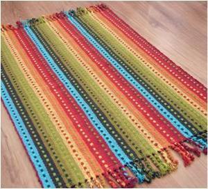 Cotton multi stripe rug