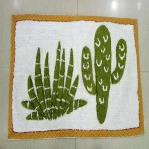 Bath mat with printed border